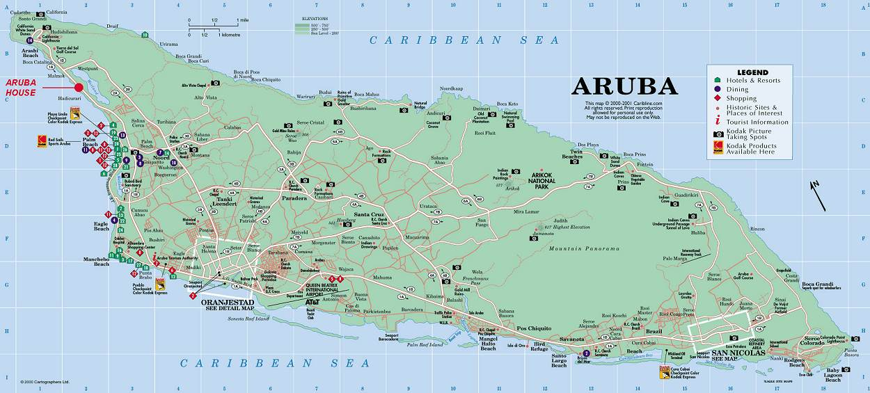 Large Detailed Map Of Aruba The Best Hotels